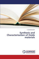 Synthesis and Characterisation of Oxide Materials PDF