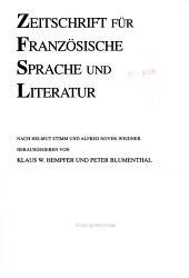 Zeitschrift f  r franz  sische Sprache und Literatur PDF