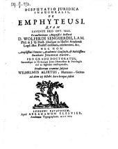 Disputatio ... de emphyteusi