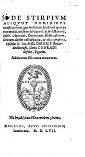 De stirpium aliquot nominibus vetustis ac novis epistolae duo