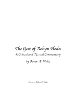 The Gest of Robyn Hode  A Critical and Textual Commentary PDF