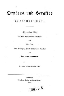 Orpheus und Herakles in der Unterwelt PDF