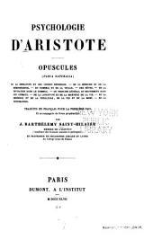 Psychologie d'Aristote: Opuscules (Parva naturalia) ... Tr. en français pour la première fois