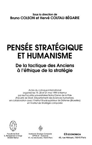 Pens  e strat  gique et humanisme PDF