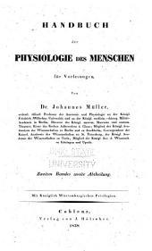 Handbuch der physiologie des menschen für vorlesungen: Band 2,Teil 2
