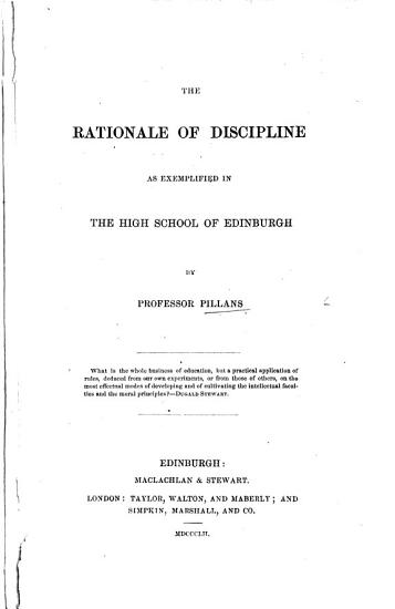 The Rationale of Discipline as Exemplified in the High School of Edinburgh PDF