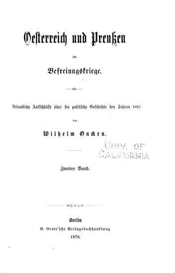 Oesterreich und Preussen im Befreiungskriege PDF