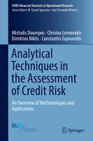 Analytical Techniques in the Assessment of Credit Risk PDF