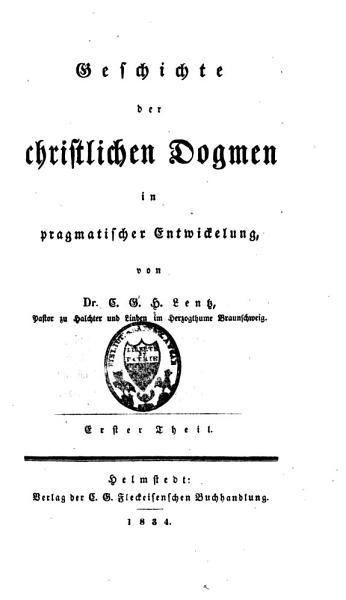 Geschichte der christlichen Dogmen in pragmatischer Entwickelung