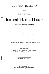 Monthly Bulletin of the Pennsylvania Department of Labor and Industry: Volume 4, Issue 2