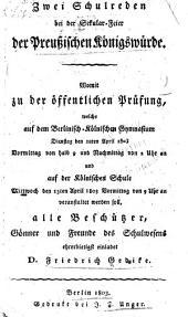 Zwei schulreden bei der sekularfeier der preussischen königswürde ...