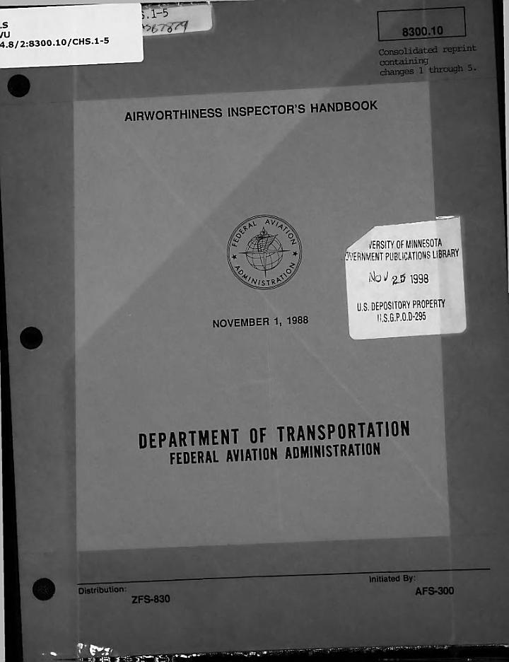 Airworthiness Inspector's Handbook, 8300.10 Changes 1- 5, November 1, 1998