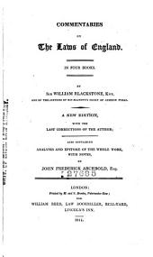 Commentaries on the Laws of England: In Four Books, Volume 1