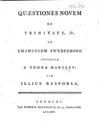 Q Stiones Novem De Trinitate C Ad Emanuelem Swedenborg Proposit A Thoma Hartley Tum Illius Responsa Book PDF