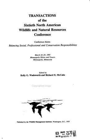 Transactions of the     North American Wildlife and Natural Resources Conference PDF