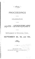 Proceedings at the Celebration of the 250th Anniversary of the Settlement of Guilford  Conn PDF