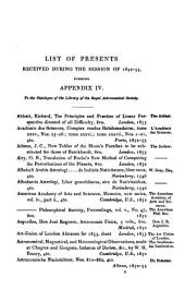 Monthly Notices of the Astronomical Society: 1852/53
