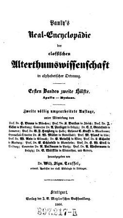 Pauly s Real Encyclopadie Der Classischen Alterhumswissenschaft PDF