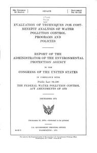 Evaluation of Techniques for Cost benefit Analysis of Water Pollution Control Programs and Policies PDF