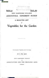 A selected list of vegetables for the garden