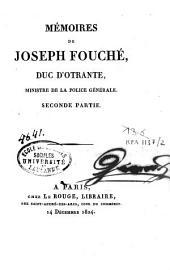 Mémoires de Joseph Fouché, duc d'Otrante ministre de la police générale