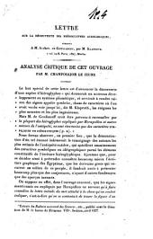 Analyse critique de la Lettre sur la découverte des hiéroglyphes acrologiques, adressée à M. le chevalier de Goulianoff, par M. Klaproth