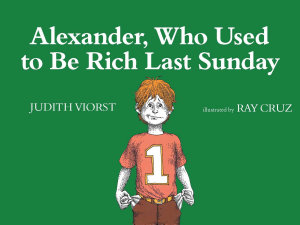 Alexander  Who Used to Be Rich Last Sunday Book
