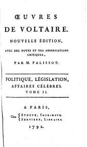 Politique, législation, affaires célèbres