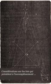 Considérations sur les lois qui président à l'accomplissement des phénomènes naturels rapportés à l'attraction newtonienne et basées sur la synthèse des actions moléculaires exposés dans les mémoires publiés jusqu'ici