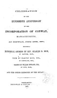 Celebration of the Hundredth Anniversary of the Incorporation of Conway  Massachusetts PDF