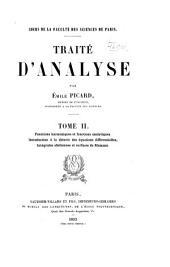 Traité d'analyse: Fonctions harmoniques et fonctions analytiques. Introduction à la théorie des équations différentielles. Intégrales abéliennes et surfaces de Riemann