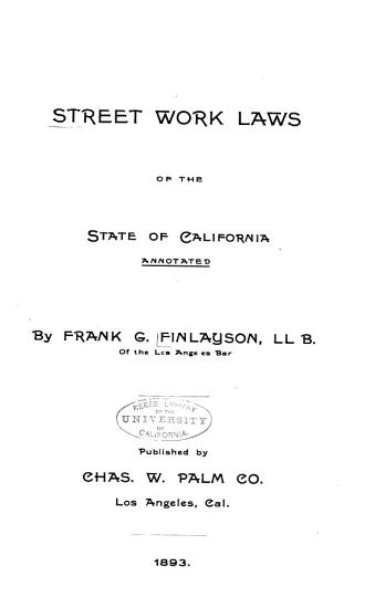 Street Work Laws of the State of California PDF