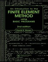 Introduction to the Finite Element Method using BASIC Programs PDF