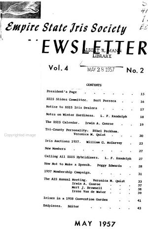 Newsletter of the Empire State Iris Society