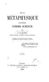 De la métaphysique considérée comme science