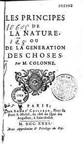 Les principes de la nature, ou, De la generation des choses
