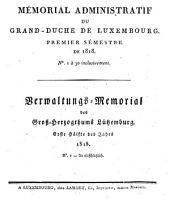 Mémorial du Grand-Duché de Luxembourg: Volume1818,Numéro1