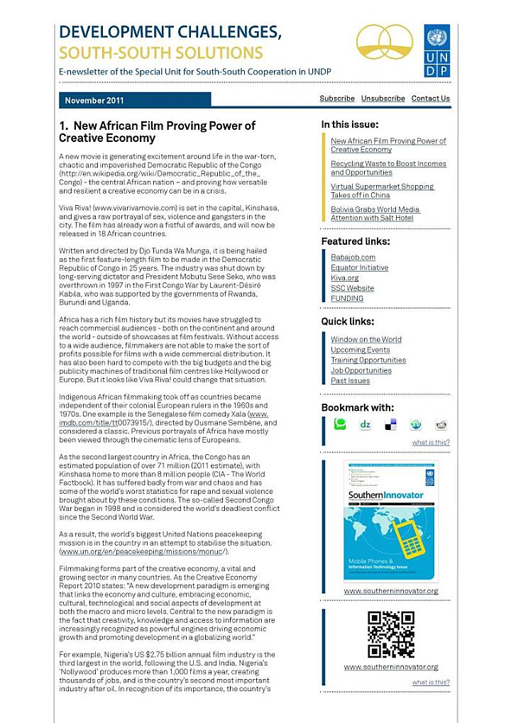 Development Challenges, South-South Solutions: November 2011 Issue