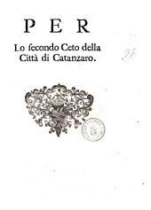 Per lo secondo ceto della città di Catanzaro [Giuseppe Palmieri]