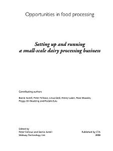 Setting up and running a small scale dairy processing business PDF