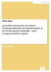 Grenzüberschreitende Investition - Tochtergesellschaft oder Betriebsstätte in der Tschechischen Republik - unter ertragsteuerlichem Aspekt