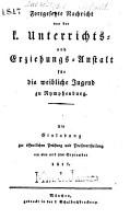 Nachricht von der K  niglichen Unterrichts  und Erziehungs Anstalt in Nymphenburg PDF