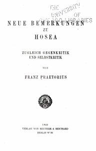 Neue Bemerkungen zu Hosea PDF