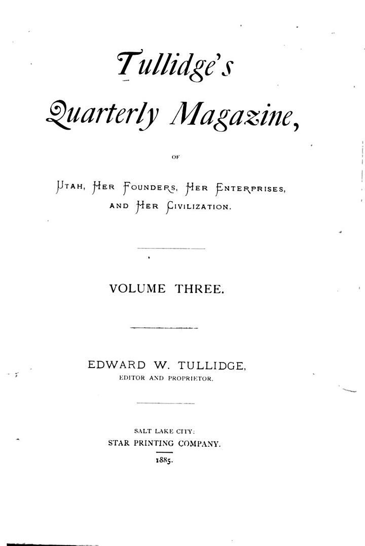Tullidge's Quarterly Magazine