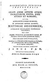 Dissertatio juridica inaugurales de grati animi officiis atque ingratorum poena, jure Attico et Romano