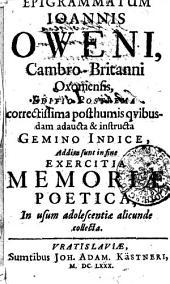 Epigrammatum Ioannis Oweni[i], Cambro-Britanni Oxoniensis ...