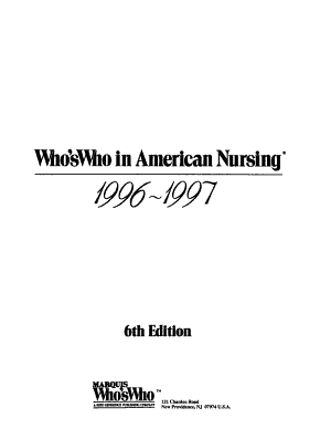 Who's Who in American Nursing, 1996-1997