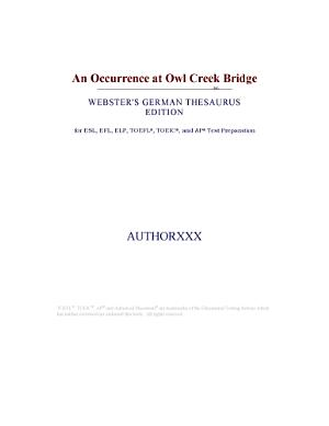An Occurrence at Owl Creek Bridge  Webster s German Thesaurus Edition  PDF