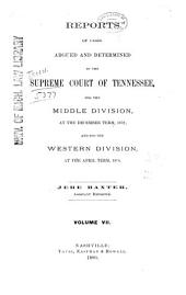 Reports of Cases Argued and Determined in the Supreme Court of Tennessee: Volume 66
