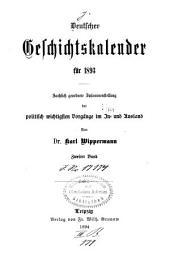 Deutscher Geschichtskalender: Band 2;Band 9,Teil 2